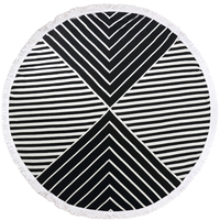 100% Microfiber Fabric round beach towel diameter 150cm with tassel Stripe also used to be Sunbath blanket picnic covers 5 color