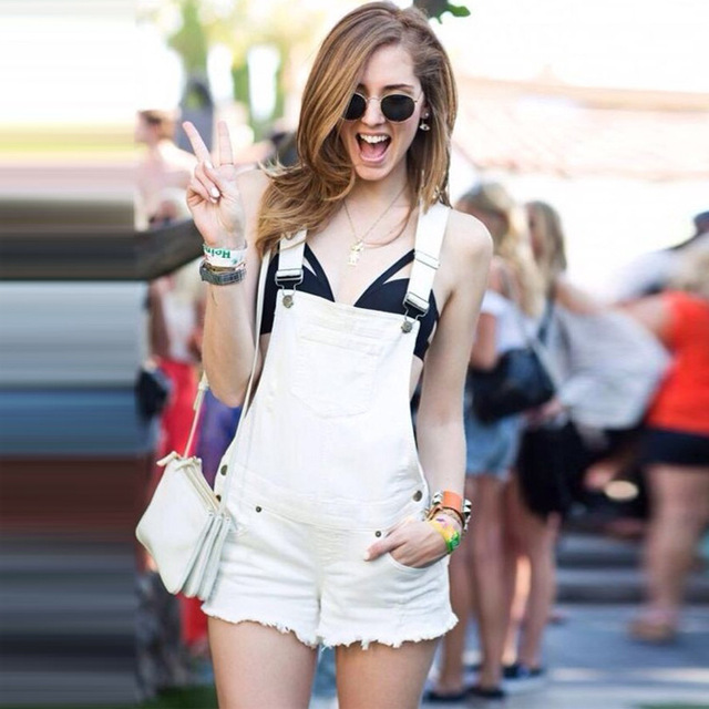 05c49f0e040 New fashion Denim overalls high waist white shorts cutoff macacao jeans  denim jumpsuits rompers salopette