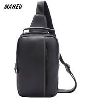 MAHEU New Fashion Men's Chest Packs Genuine Leather Chest Bag Sling Bag Man Male Crossbody One Strap Bags Phone Cigarette Black
