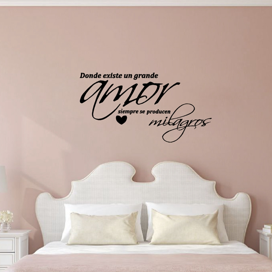 "Spanish ""Arte de la pared dormitorio"" Vinyl Wall Stickers Amor Wall Decals For Bedroom Decoration Free Shipping"