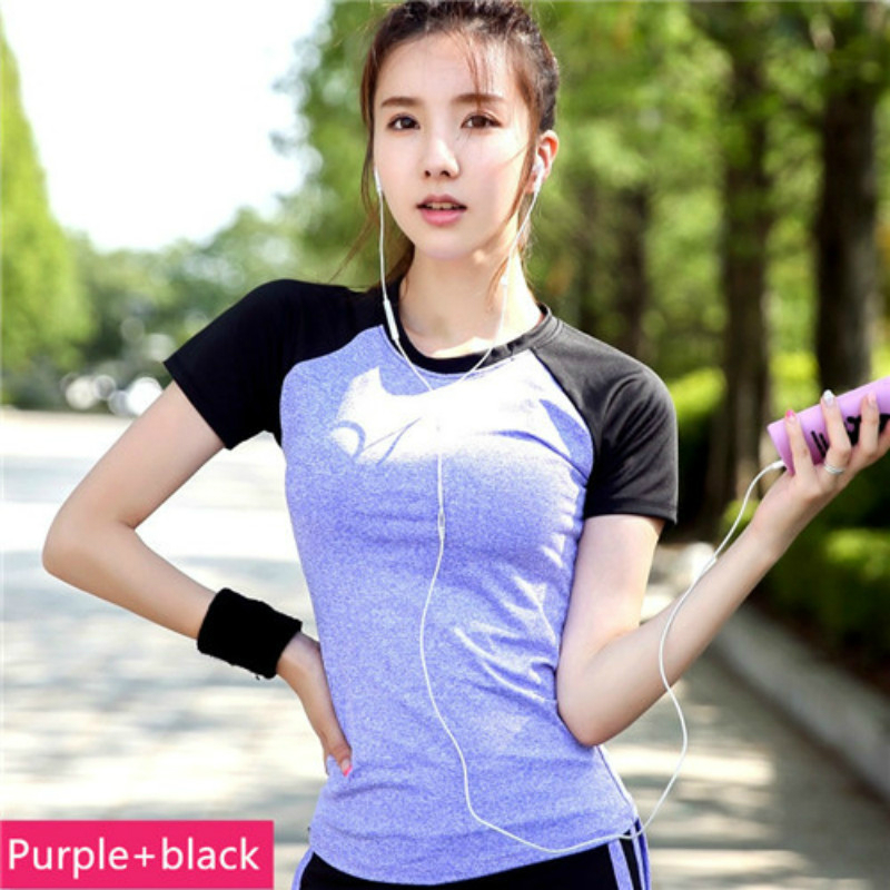 Ladies Yoga Gym Sport T-shirts Dry Quick Women's Running Short Sleeve T-shirts Fitness Clothes Tees tops