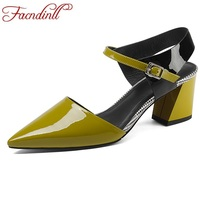 FACNDINLL Fashion Patent Leather Summer Shoes Woman Gladiator Sandals 2018 New Square Heel Ladies Shoes Office