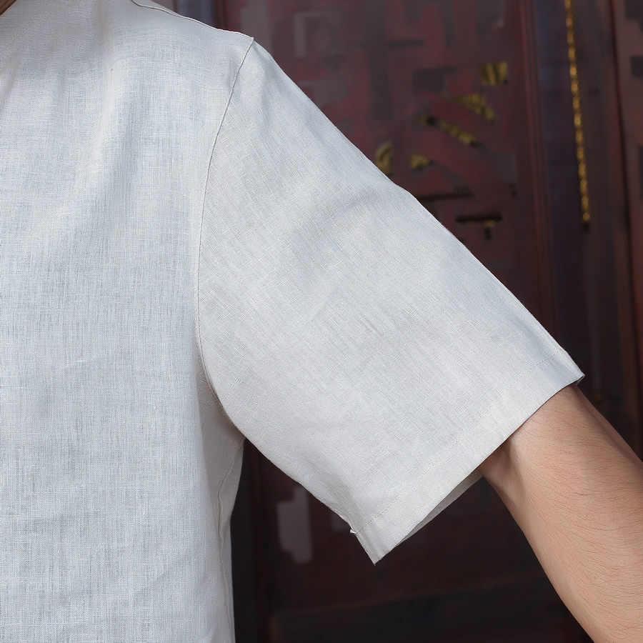 夏の新ファッションベージュ伝統中国のメンズコットンリネンカンフースーツシャツパンツ S-半袖シャツ唐装 ML XL XXL XXXL D08