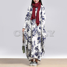 CUERLY 2019 Spring Fashion Women O Neck Long Sleeve Casual Floral Printed Cotton Linen Baggy Party Maxi Dress