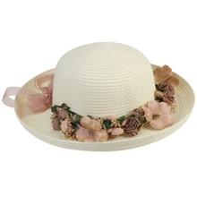 69d199d2 Women Lady Wide Brim Hat Summer Beach Straw Cap Sun Floppy Hats for Adults  (Milk White Garland)