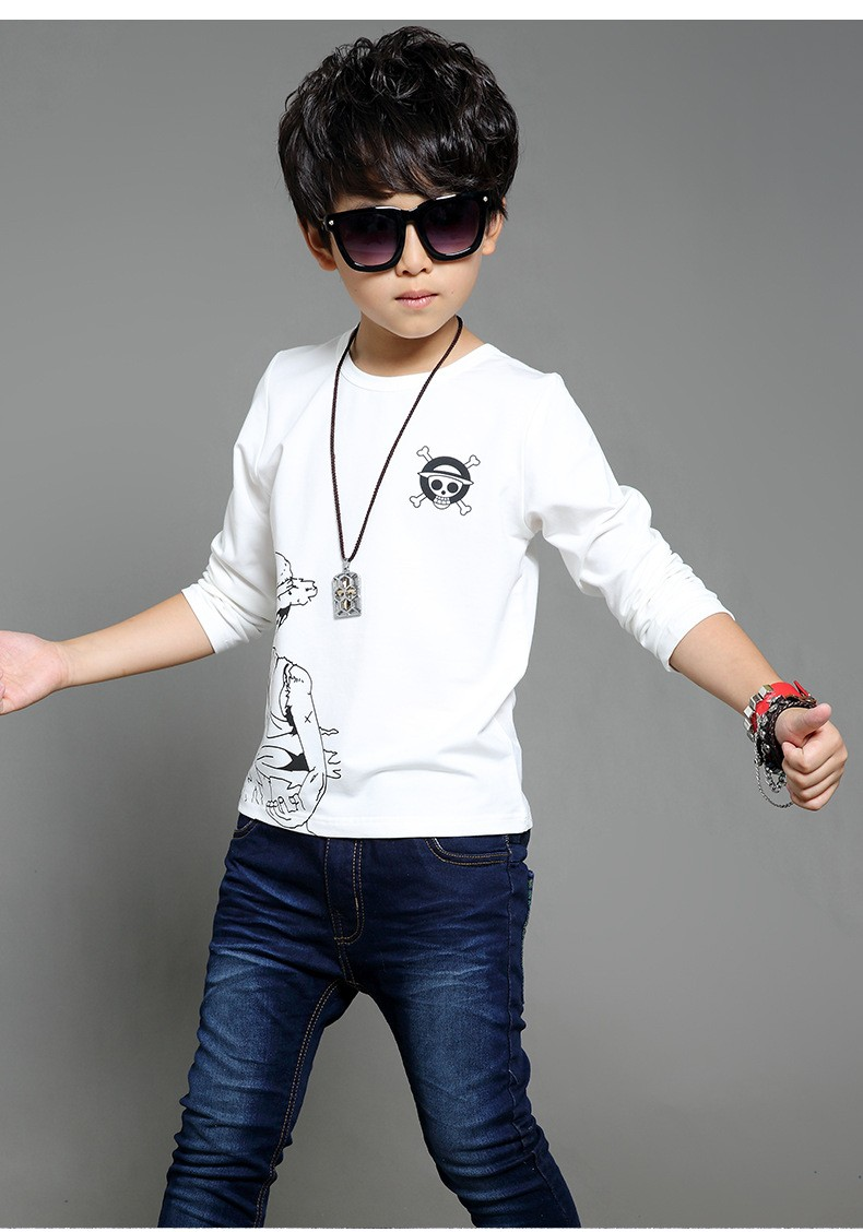 anime Skull sprinted kid t-shirt for boys clothes t-shirt long sleeve white gray cartoon children tops tees boys spring autumn 2017 new clothing (6)