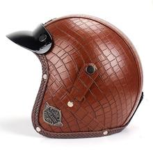 MotoLovee Motorcycle Solid Color Retro Helmet Harley Unisex Motorbike 3/4 Leather Comfortable Multiple Style Helmets