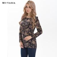 MS VASSA Women T Shirt Summer Spring Ladies Chiffon Tees Long Sleeve O Neck Plus Size