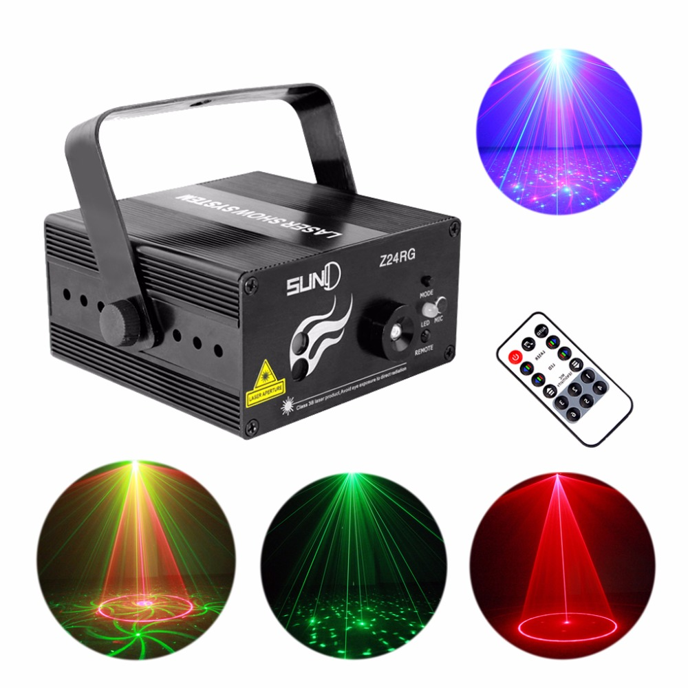 Mini Remote Music 24 Red Green Gobos Laser Effect Projector 3W Blue LED Light Wedding DJ Party Show Club Stage Lighting Z24RG rg mini 3 lens 24 patterns led laser projector stage lighting effect 3w blue for dj disco party club laser
