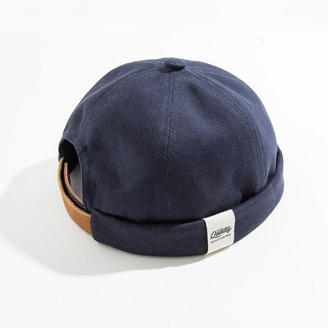 Maden Men Adjustable Denim Beanie Skull Cap Dockworker Hat Roll Cuff  Casual Caps Sailor Hats Male 2
