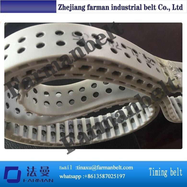 pu double-side timing belt PU Timing Belt With Greeb Fabric contrast pu wide belt
