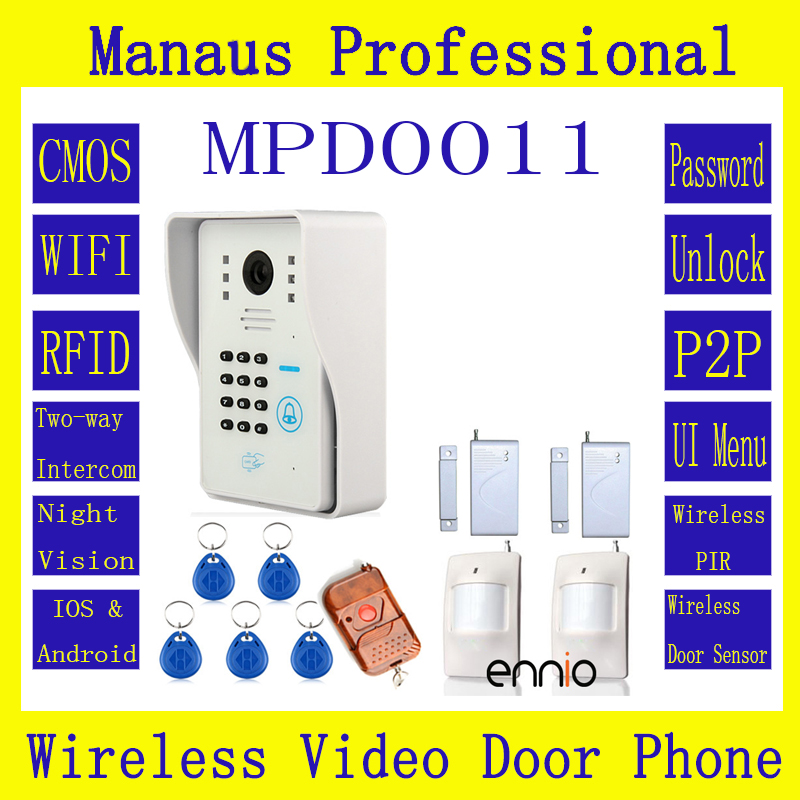 Smart Home WIFI Wireless Video Door Phone System With Home Alarm System Card Unlock Function & Remote Wireless Control D11C