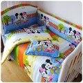Promoção! 6 PCS Mickey Mouse crianças set! Roupa de cama de bebê, Incluem ( bumpers folha + travesseiro )