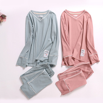 c057dae5a0 Korean Simple Pajama Knitted Cotton Wholesale Pyjamas Women Full Sleeves  Pants 2pcs Sets Loungewear Homewear