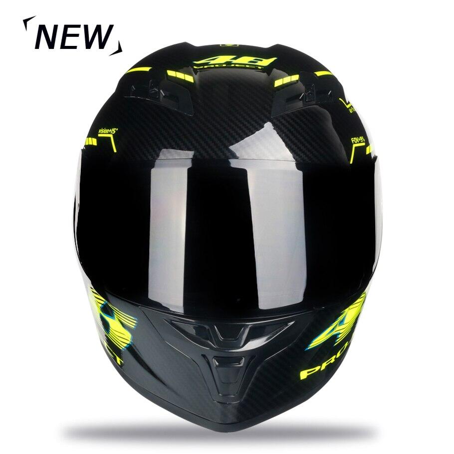 Casco de moto de fibra de carbono de cara completa casco profesional de carreras Kask DOT Arco Iris visera Motocross fuera de carretera - 3