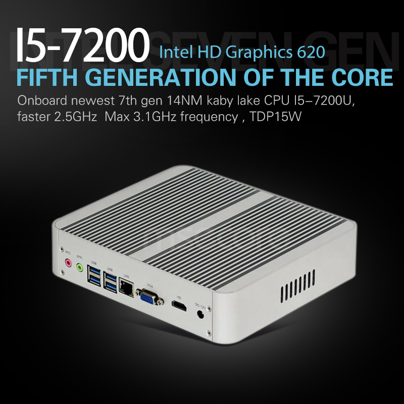 Fanless Intel I5 7200U Mini PC Windows 10 Desktop Computer NUC stick pc barebone system Nettop