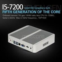 Безвентиляторный intel i5 7200u mini pc windows 10 настольный компьютер кну stick pc barebone системы неттоп kabylake hd620 графика 300 м wi-fi