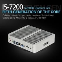 Fanless Intel I5 7200U Mini PC Windows 10 Desktop Computer NUC stick pc barebone system Nettop Kabylake HD620 Graphics 300M WiFi