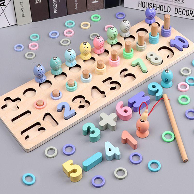 Montessori Voorschoolse Houten Speelgoed Digitale Matching Vissen Boord Speelgoed Baby Vroege Onderwijs Math Speelgoed Voor Kinderen