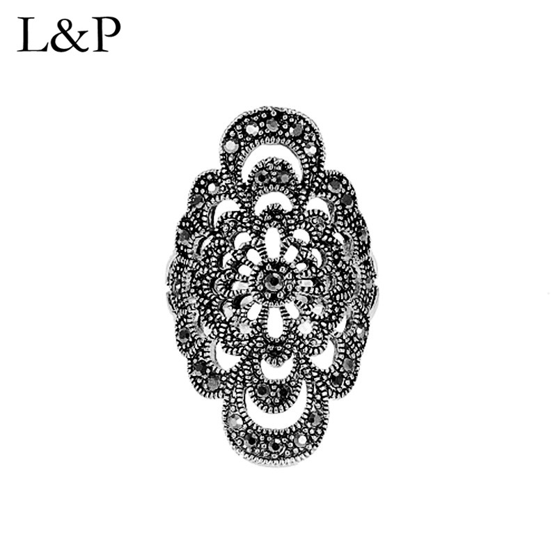 L&P Elegant Retro Mosaic Ring For Lady Authentic 925 Sterling Silver Handmade Adjustable Ring Fine Jewelry Wedding GiftL&P Elegant Retro Mosaic Ring For Lady Authentic 925 Sterling Silver Handmade Adjustable Ring Fine Jewelry Wedding Gift
