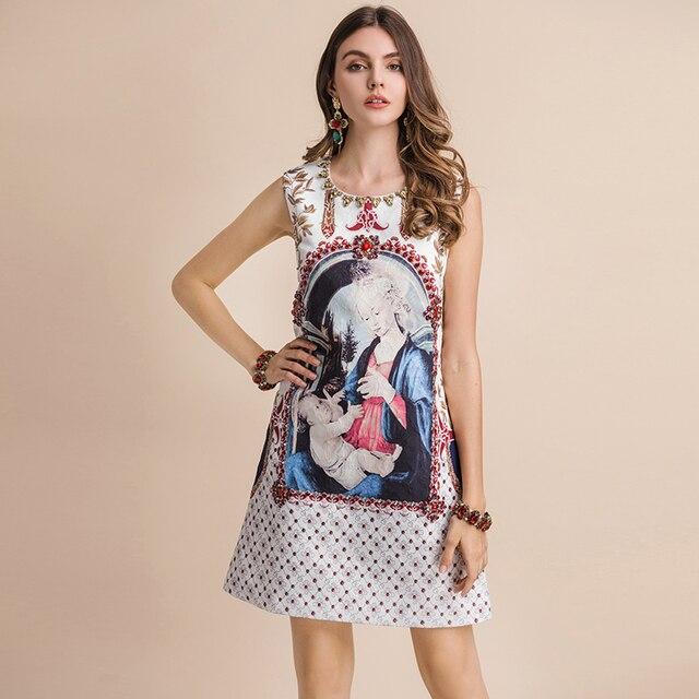 Vestido mini corte recto suelto estampado vintage verano apliques