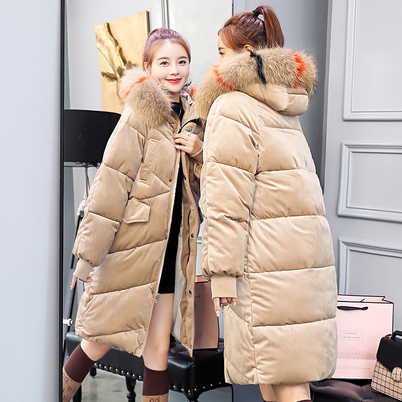 Coréen Hiver Vestes Velours Manteaux Grand Femme Chaleureux Noir 2018 Femmes Fourrure Veste Longue En rose kaki Or Manteau Epaissir bleu Col Nouveau Coton Parka De dxvx6Yw8q