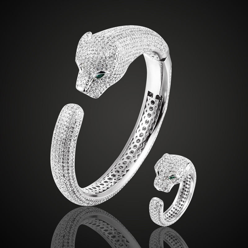 High Quality Cubic Zircon Leopard bangle ring set For Men Jewelry Copper Animal Bangles Pulseira Mujer