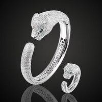 Высокое качество кубический циркон браслет «леопард» кольцо набор для мужчин ювелирные изделия медные браслеты с животными Pulseira Mujer Женска...