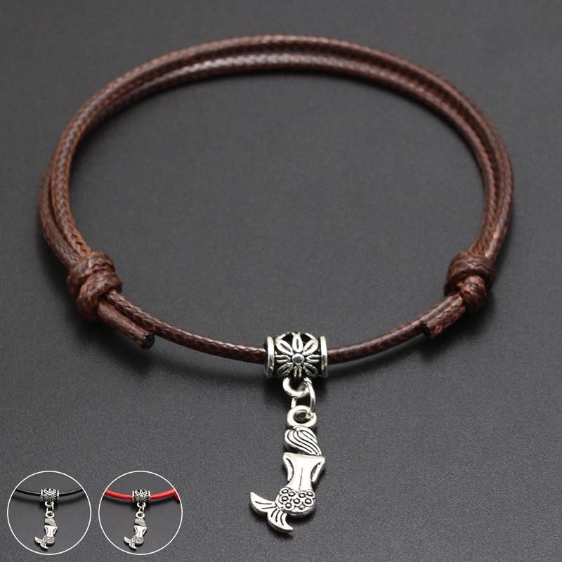 2020 New Mermaid Pendant Red Thread String Bracelet Lucky Black Coffee Handmade Rope Bracelet for Women Men Jewelry