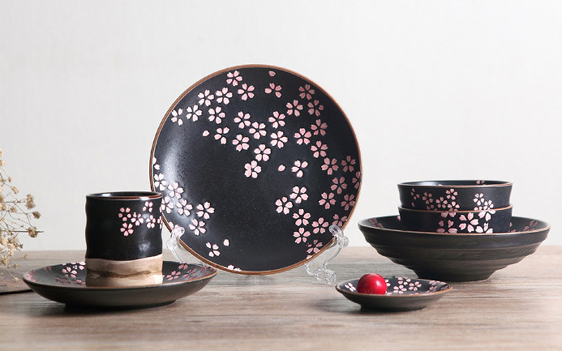 Ceramic Porcelain Frost Glazed Plate Dish Dinnerware Set (6 pcs) with Sakura Pattern Japanese Style-in Dinnerware Sets from Home \u0026 Garden on Aliexpress.com ... & Ceramic Porcelain Frost Glazed Plate Dish Dinnerware Set (6 pcs ...