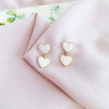 Drip heart-shaped earrings Peach heart earrings
