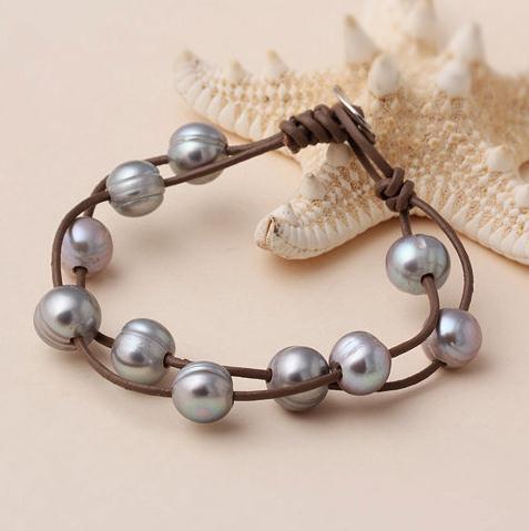Большое отверстие перл на кожаный браслет двойные цепи 10 - 11 мм перл кожаный браслет, белый розовый серый пресной воды жемчужные украшения