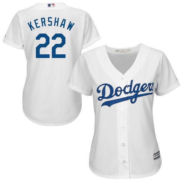 MLB женская Лос-Анджелес Доджерс Клейтон Кершоу White Главная Прохладный База Джерси Игрока