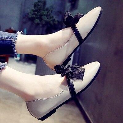 Chaussures Plat Simples Peu noir mère Petites Femmes Grand De Bouche La Coréenne Sauvage Arc Nouveau Version Rétro Beige Profonde Automne 2018 Printemps rr4dvwq