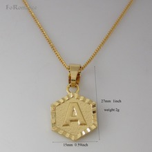 "Min order 10$ /26 LETTERS -GOLD GP 18"" NECKLACE&LETTER A B C D E F G H I J K L M N O P Q R S T V W X Y Z INITIAL HEXAGON PENDANT(China)"