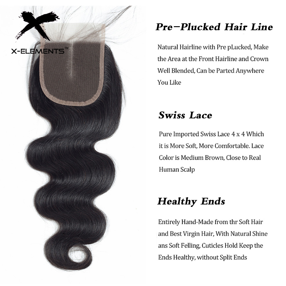 X-Elements Hair 4x4 Lace Closure Body Wave Hair Weaves Non-Remy Brazilian Human Hair Extensions Natural Color Swiss Lace Closure (12)