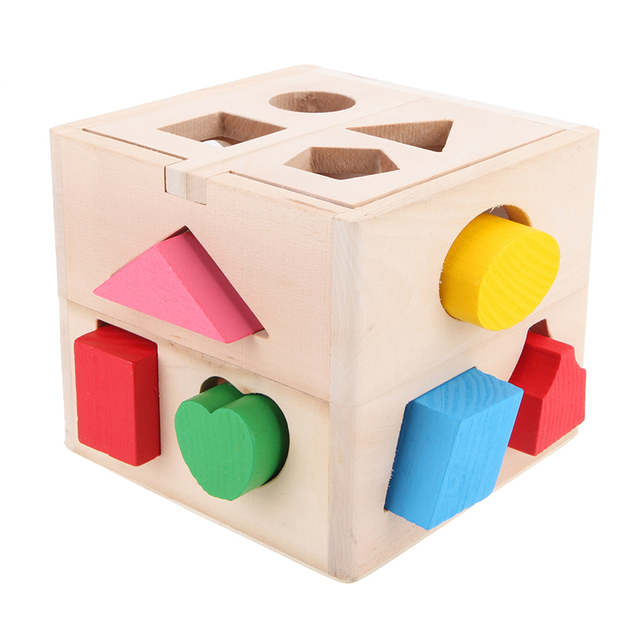 US $11 08 25% OFF|13 Holes Baby Wooden Bricks Shape Sorter Cube Cognitive  and Matching Block Children Recognition Intelligence Box Educational Toy-in