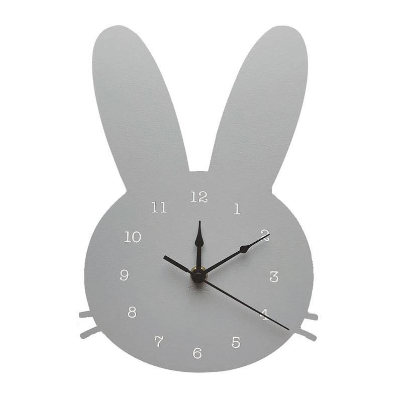 US $10.25 28% OFF|Nordic Style Wooden Clock Girls Bedroom Children\'s Room  Cartoon Mute Rabbit Clock Wooden Wall Decoration Home Ornaments-in Wall ...