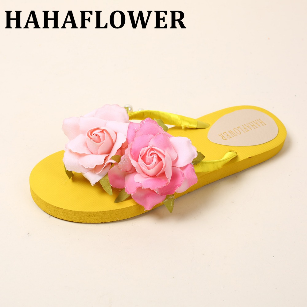 HAHAFLOWER Summer flower Shoes Woman Sandals Beach Flat Wedge Flip Flops Lady Slipper Women Beach Slippers  A26 2017 women sandals shoes sapato feminino bownot wedge flip flops fashion beach women slipper shoes bohemia women s shoes flower