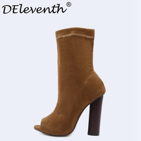 Winter Autumn Mid Calf Boots Round Toe Rivet Women Thick Square Heel Martin Boots Ladies Worker
