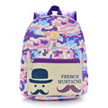 2016 Fashion canvas cute mustache school bags girls camouflage colors backpack boy schoolbag kindergarten bag mochilas infantis