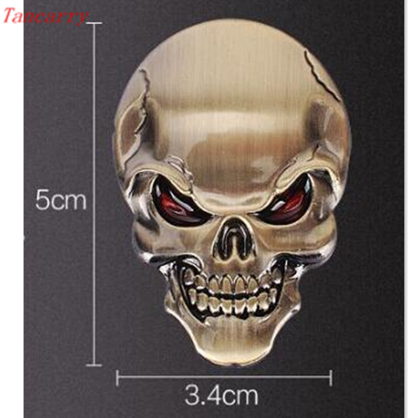car styling 3D Metal Skull Car Stickers Decals for vw t4 audi q5 volkswagen golf 5 audi a1 kia sportage land rover defender bmw