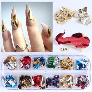Image 3 - Paleta de lentejuelas para uñas, 12 rejillas, escamas irregulares de aluminio, pigmento de oro, decoración de uñas, láminas de brillo, CH950 1 de papel