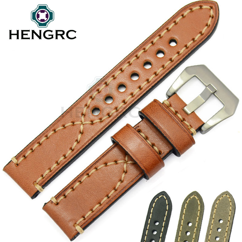HENGRC 24 22mm Watch Band Strap Men Genuine Cowhide Leather Women Thick Watchbands Stainless Steel Buckle For Panerai hengrc fashion genuine leather watch band belt 20mm 22mm brown blue high quality men strap metal needle buckle for panerai