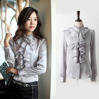 Free Shipping New Women S Clothes Gray Black Ruffle Front Lace Collar Top Shirt Blouse