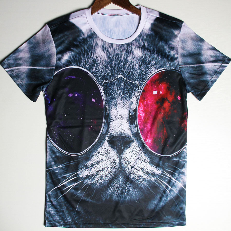 Wholesale Cheap Top Tees 3d Space Cat Galaxy Fishes Spiderman