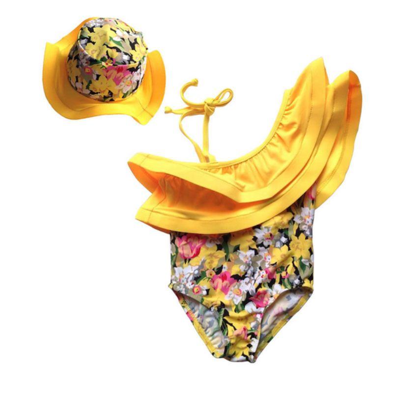 Summer Kids Girl Swim Suit Newborn Baby Girls Swimwear Hat Floral Swimsuit Tankini Bathing Suit 2017 New 2pcs kids baby girls floral swimsuit children girl bikini set summer swimwear bathing suit 1 6y