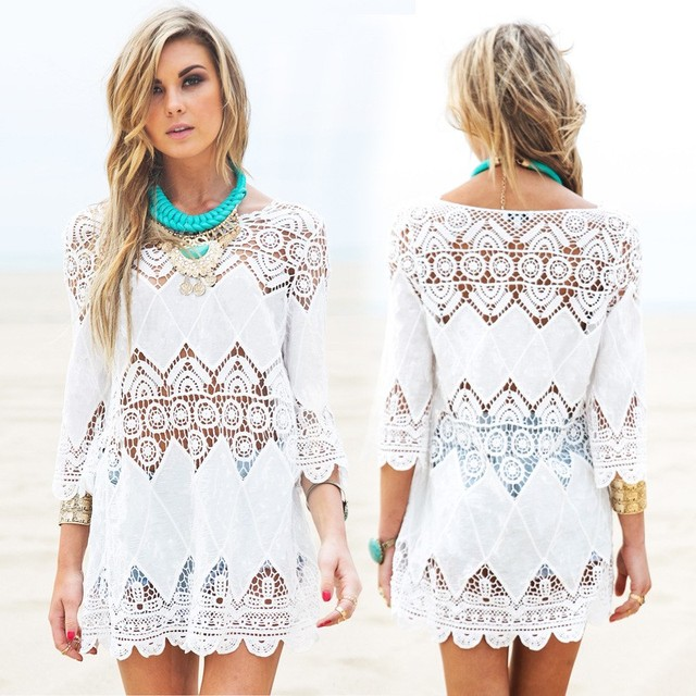 New women beach summer dresses splice casual white mini dress sexy hollow out beach dress 2016 Pareos ropa mujer swimwear output