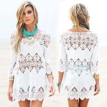 New women beach summer dresses splice casual white mini dress sexy hollow out beach dress Pareos ropa mujer swimwear output