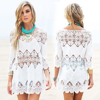 New women praia vestidos splice casual mini vestido branco de verão sexy oco fora vestido de praia 2016 ropa mujer Pareos swimwear saída
